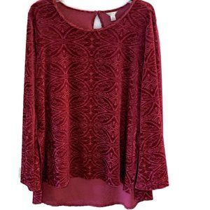Cato Velour Top - Large Berry Tunic - Comfy!